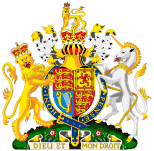 British Coat of arms - furious crowned Liond placing legs over fearless arms